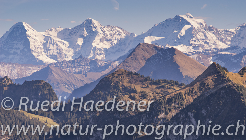 Berner Alpen vom Leiterepass, Eiger, Mönch, Jungfrau